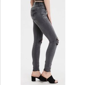 American Eagle Black Gray Ripped Skinny Jeans